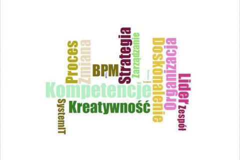 Infografika ze słów: kompetencje, proces, zmiana, BPM, strategia, zarządzanie, doskonalenie, organizacja, lider, zespół, kreatywność, system IT