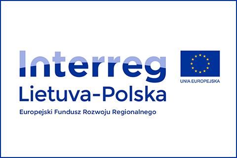 Logo Interreg Lietuva-Polska. Europejski Fundusz Rozwoju Regionalnego. Flaga Unii Europejskiej.