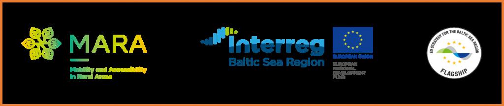 Logo projektu MARA. Logo Interreg. Logo Flagship