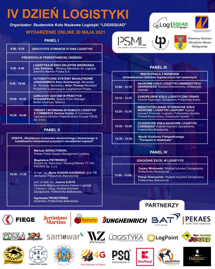 Plakat IV Dzień Logistyki. Organizator: Studenckie Koło Naukowe Logistyki LOGISQUAD. Program wydarzenia (dostępny powyżej w tekście). Logo organizatorów, patronów, partnerów.