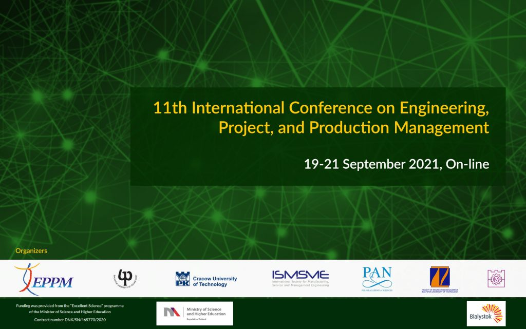 11th International Conference on Engineering, Project and Production Management.19-21 September 2021. Loga organizatorów.